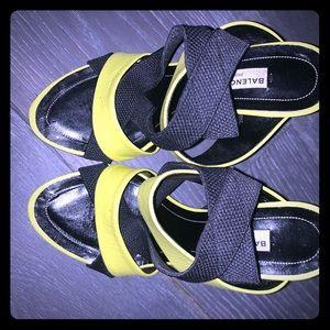 BALENCIAGA Neon yellow and black spandex mules
